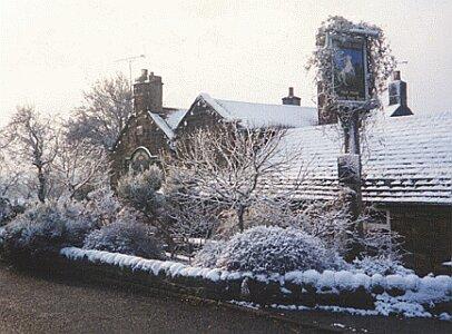 The White Horse Inn in snow