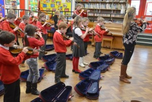 Learning to hold and pluck the violin